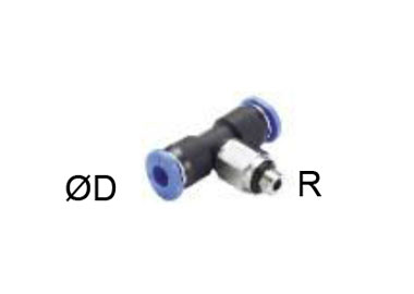 MODEL PNCCTP MINIATURE PUSH IN T SHAPE FITTING ROTARY MALE THREAD